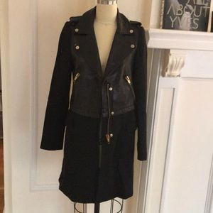 Leather mix trench coat